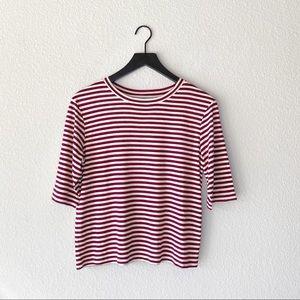 ▪️Vince▪️Midi Striped Silk/Viscose Cropped Tee
